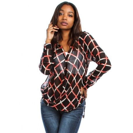 BLACK LONG SLEEVE CHIFFON V NECK TOP WITH CORAL LINE PRINT