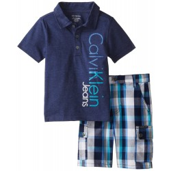 Calvin Klein Little Boys' Navy Polo Top with Plaid Cargo Shorts 4-7
