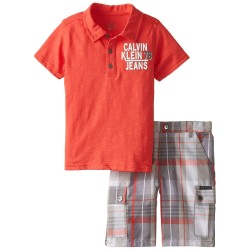 Calvin Klein Little Boys' Polo with Plaid Shorts