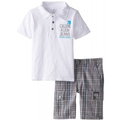 Calvin Klein Little Boys' White Polo Top with Plaid Cargo Shorts