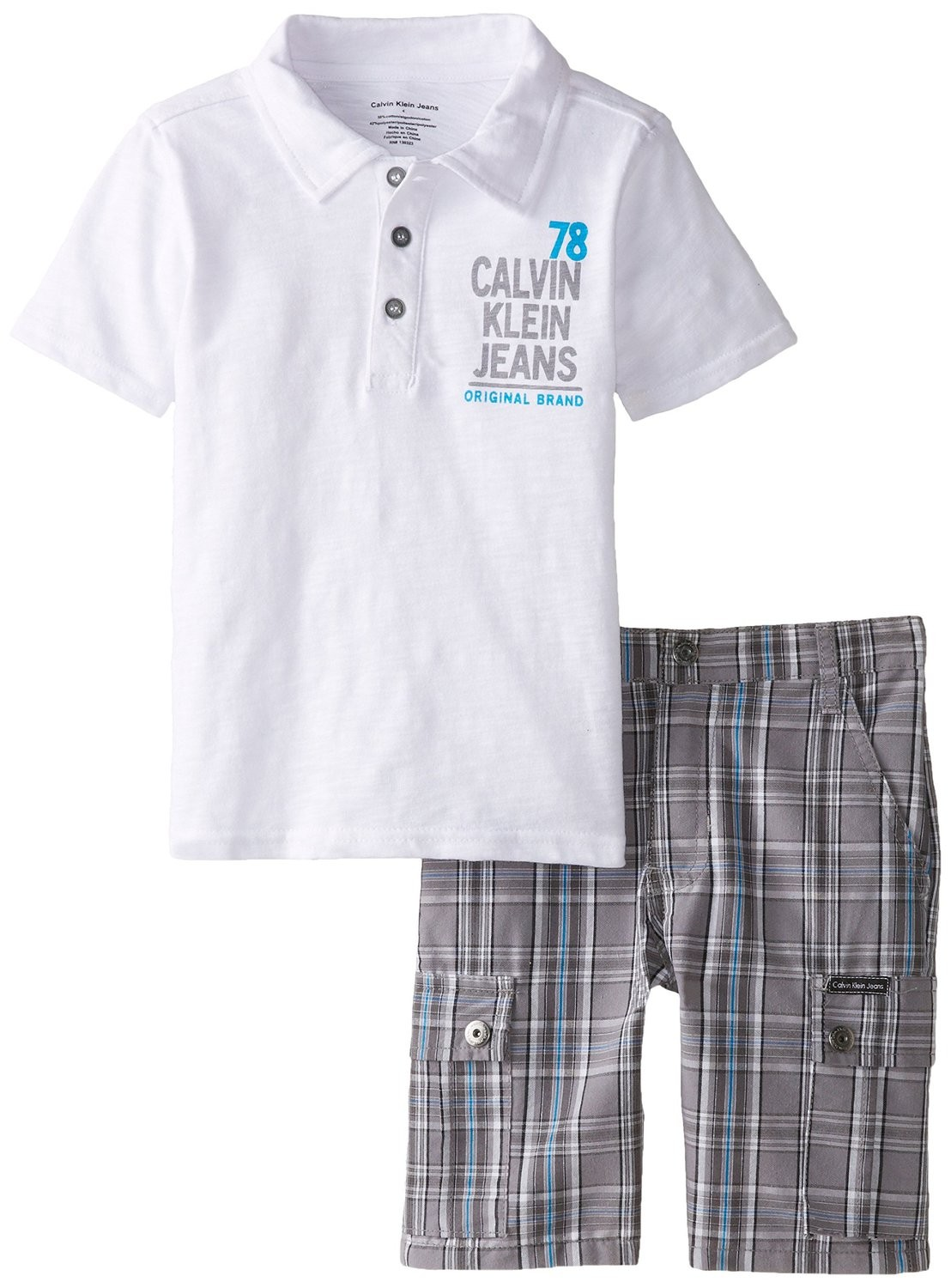 1487d8487f Calvin Klein Little Boys' White Polo Top with Plaid Cargo Shorts - Cheap  Product