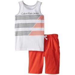 Calvin Klein Little Boys' Tank Top with Orange Shorts