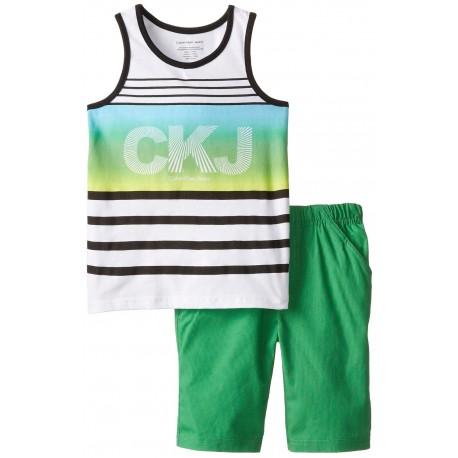 Calvin Klein Little Boys' White Tank Top with Green Shorts
