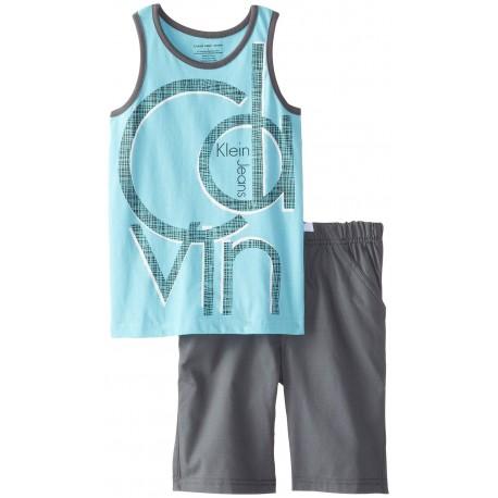 Calvin Klein Little Boys' Blue Tank Top with Gray Shorts