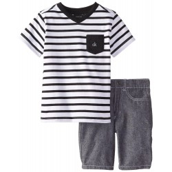 Calvin Klein Little Boys' Black White Stripes V-Neck Tee with Shorts 4-7