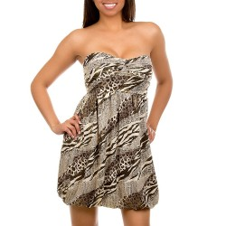 Printed Strapless Dress